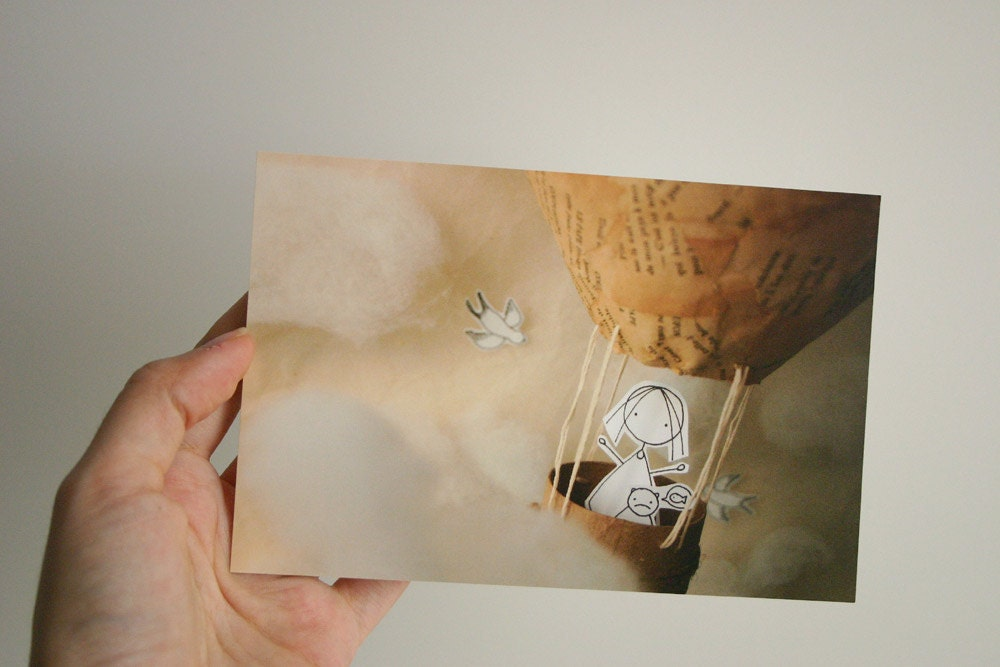 You and me up in the sky  - Set of 4 postcards - Photo print - Paper diorama - Caracarmina