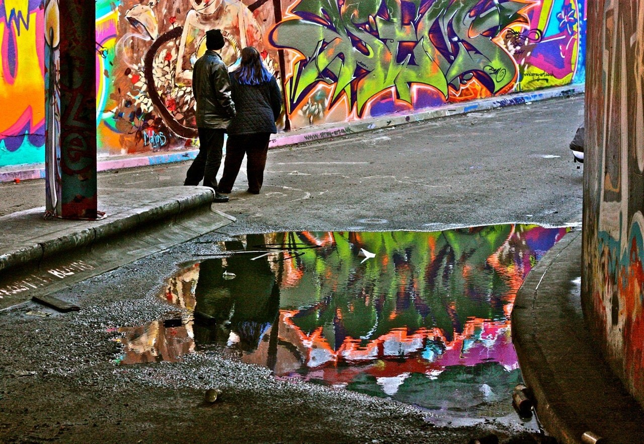 Graffiti Photograph Reflection - London, England - 8 x 10 Print