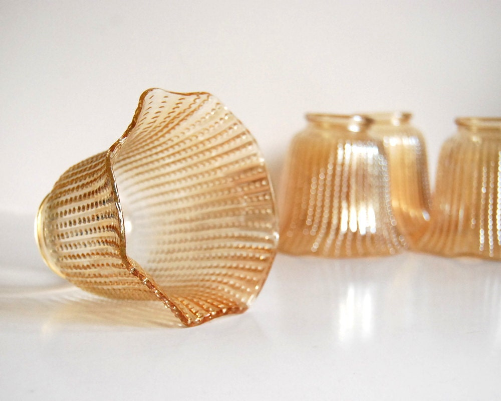 Antique Lamp Shades Glass: Antique Lamp Shades on Vintage Glass Lamp Shades Beaded Amber Ruffled Mid  Century Lighting,Lighting