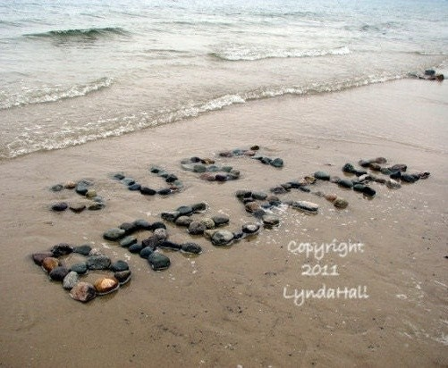 JUST BREATHE 5x7 Beach Wish Coastal Photo Art Sentiment- calming tranquil words created with natural stones at the beach