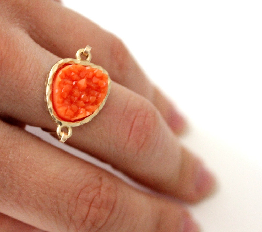 Druzy orange ring 14kt gold filled - custom size - anthology27