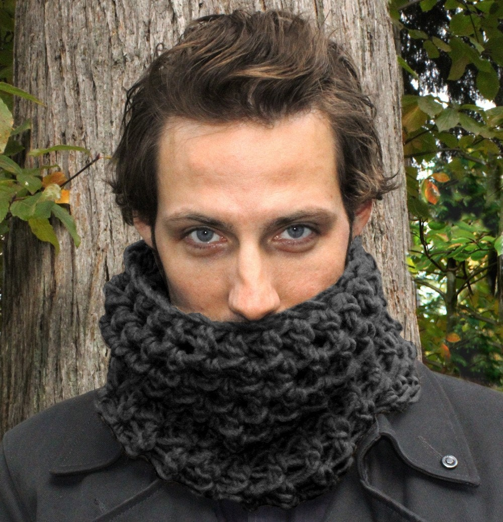 Mens Cowl neck scarf warmer scarflette charcoal by BessetteArt Cowl Neck Scarves Men