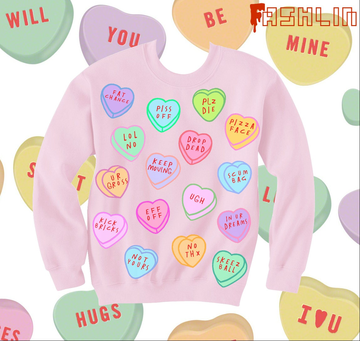 Insult Heart Candy Kawaii Sweatshirt // Pastel Goth // fASHLIN - fASHLINdotcom