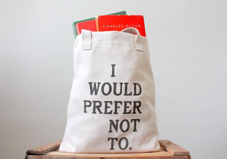 Bartleby Tote Bag - Screen Printed Tote Bag
