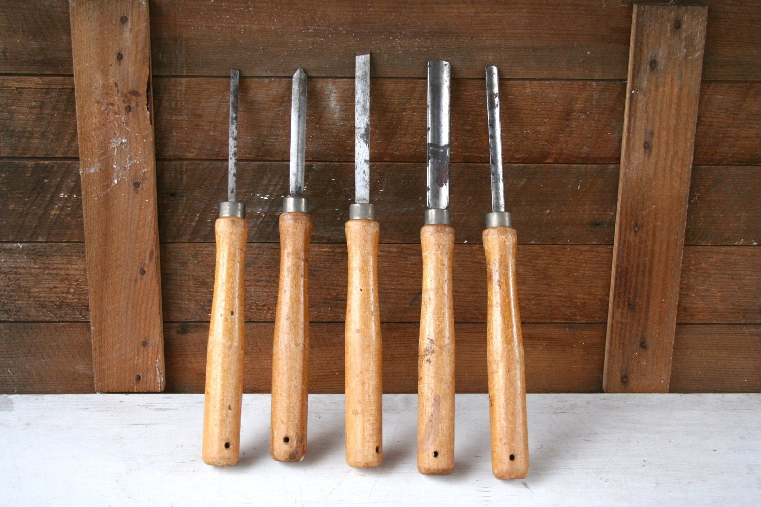 SALE - Five LARGE Antique Wood Turning Tools - With Wood Handles - Awesome Collection - Great Condition - LoveliesShop