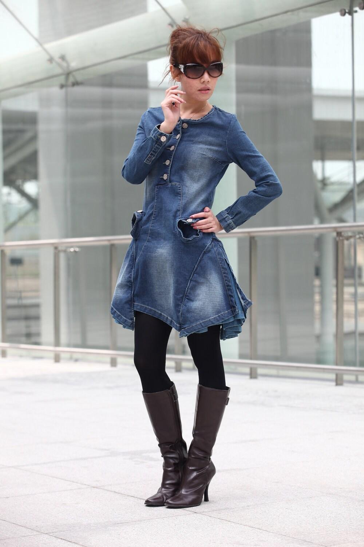 طراحی جدید آبی ویژه بلند آستین لباس جین - NC212