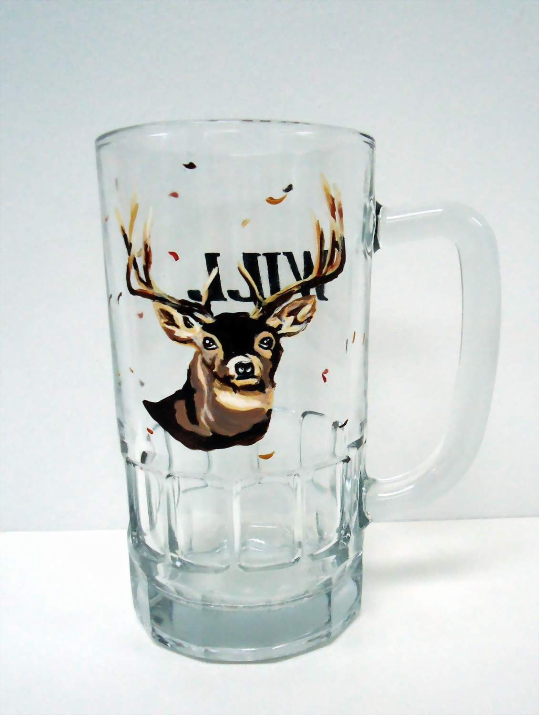 DEER GLASS - hunting mug - personalized painted glass - Pendragonartworks