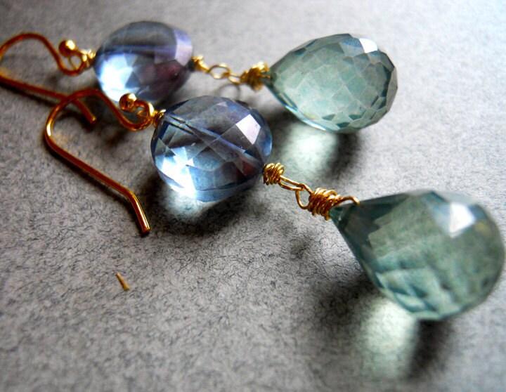 Best Friend Green and blue quartz drop earrings - $45.00 USD
