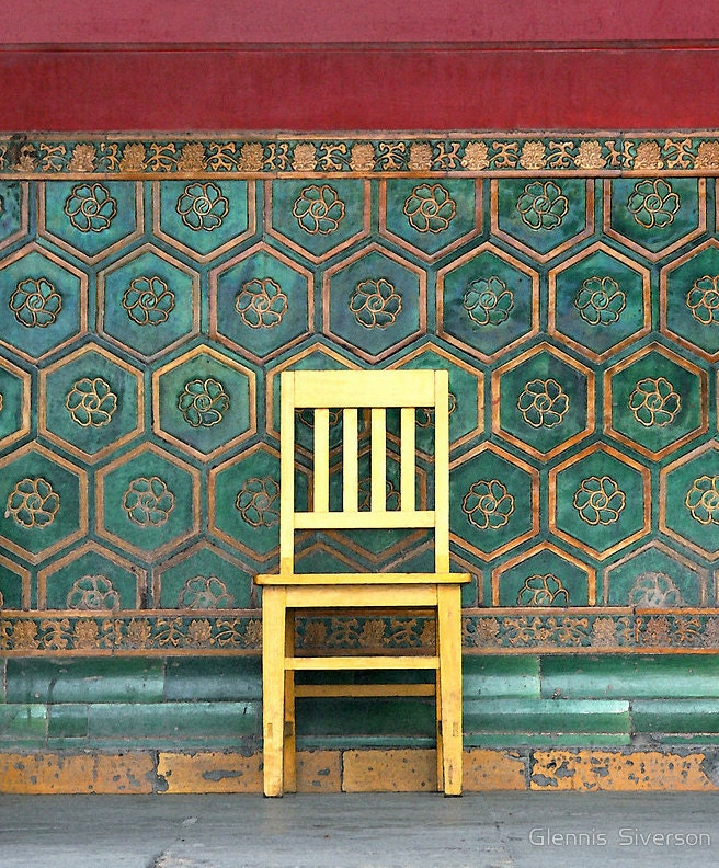 "8"" x 10"" Yellow Chair at the Imperial Palace, Forbidden City, Beijing, China, Fine Art Travel Photography by Glennis Siverson - glennisphotos"