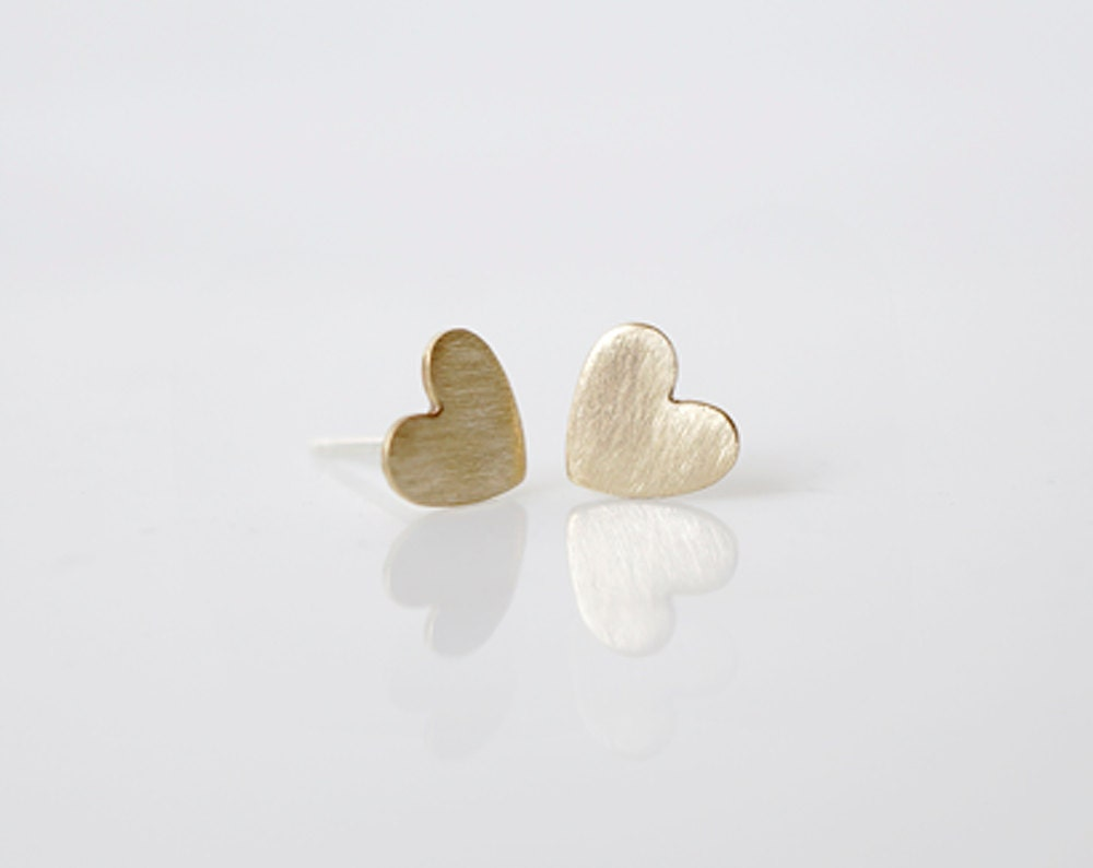 Brushed Gold Heart Studs - sterling silver posts & raw brass hearts, minimal earrings from Made By Maru