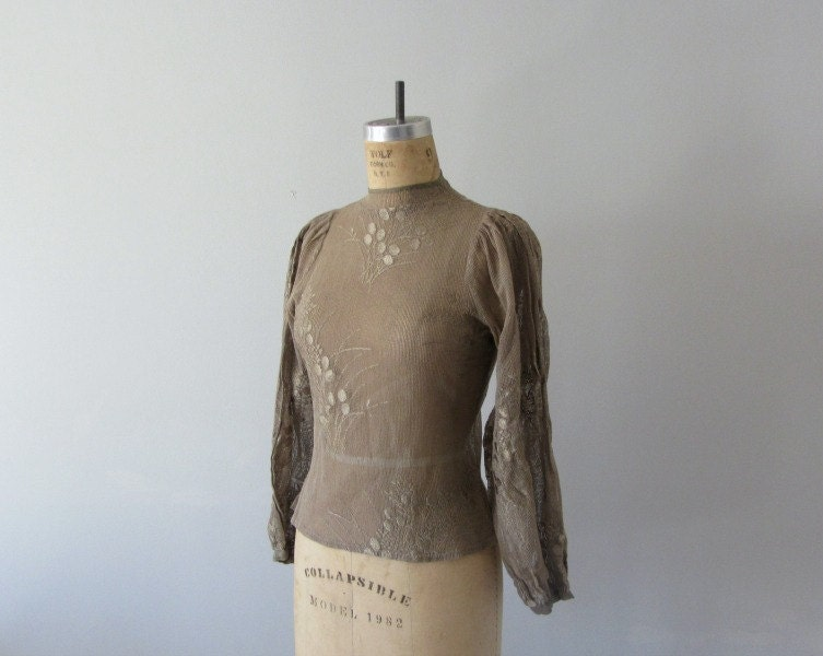 1970s lace top . 70s woodland blouse . brown bohemian top - BlueFennel