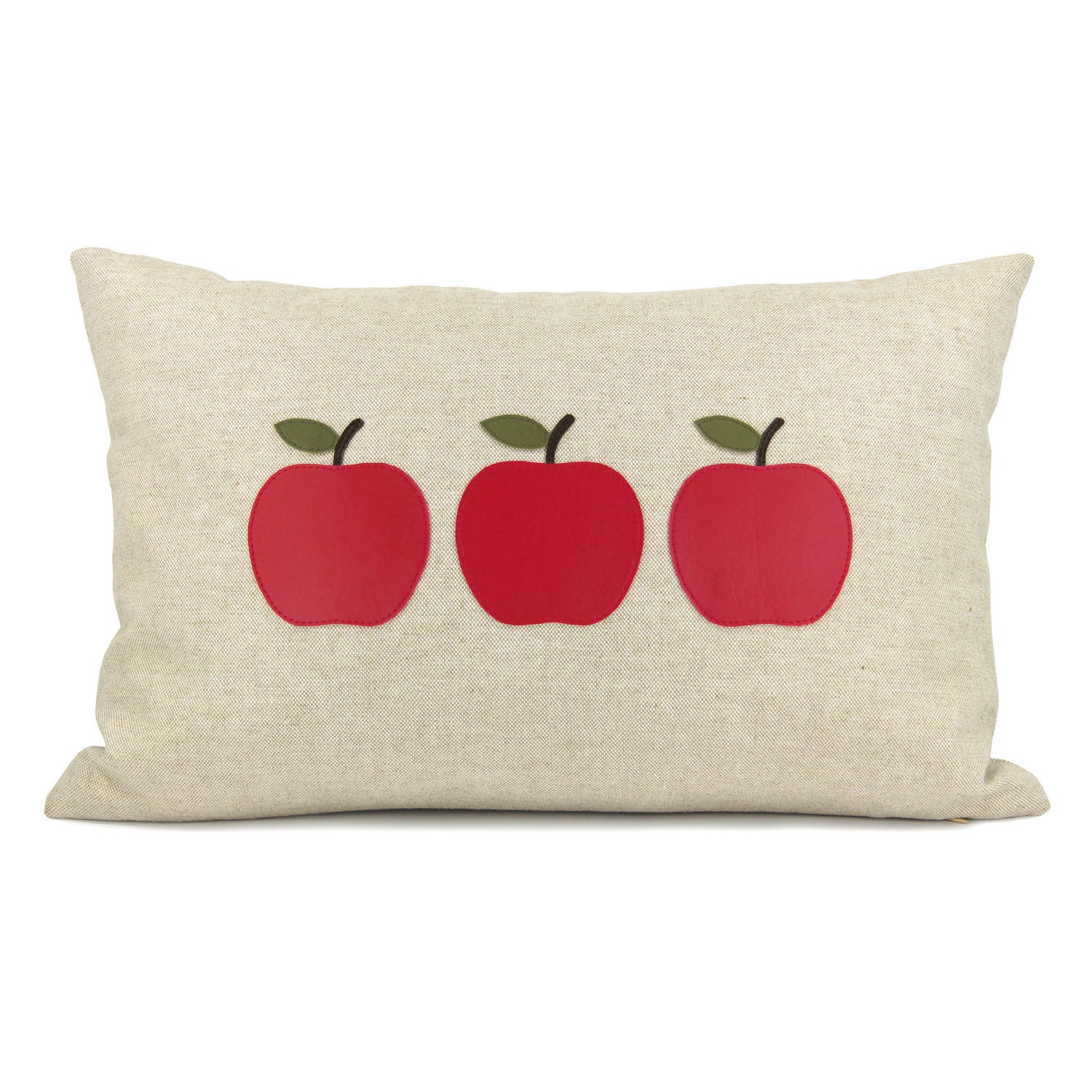 Personalized pillow case - Red or green apple appliques on your choice of fabric - 12x18 or 16x16 decorative pillow cover - ClassicByNature