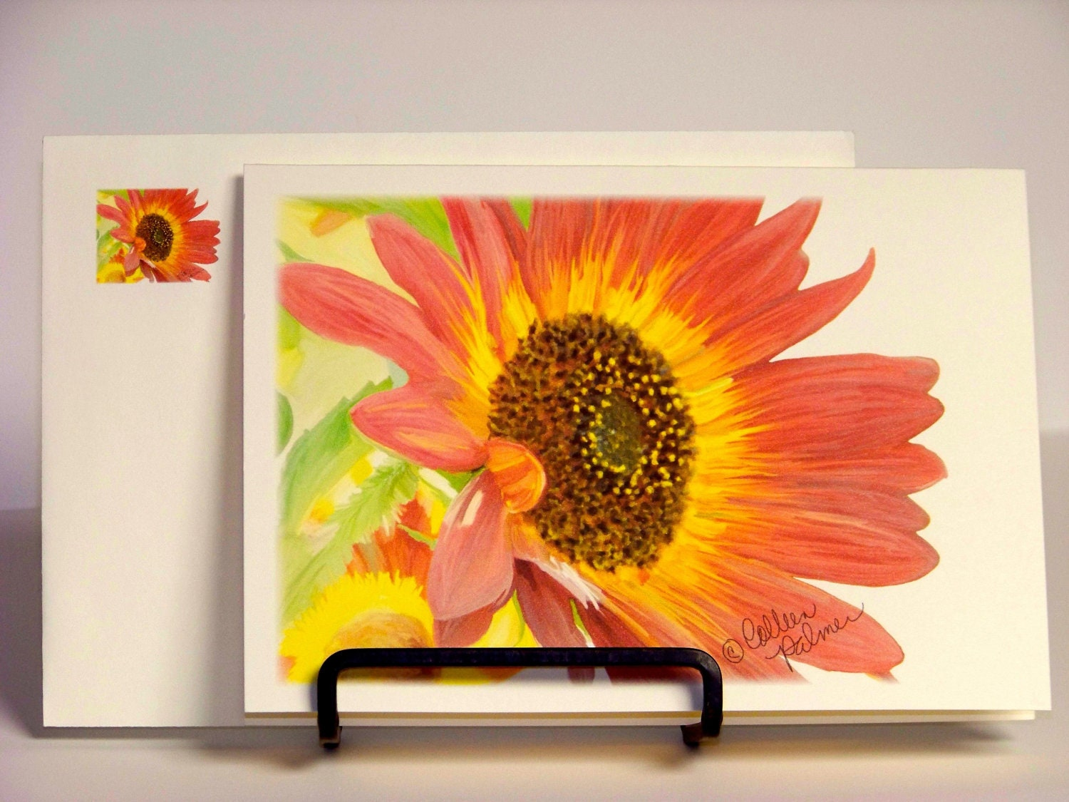Blank Notecard with Envelope Sunflower Yellow Orange - PalmerUnionDesign