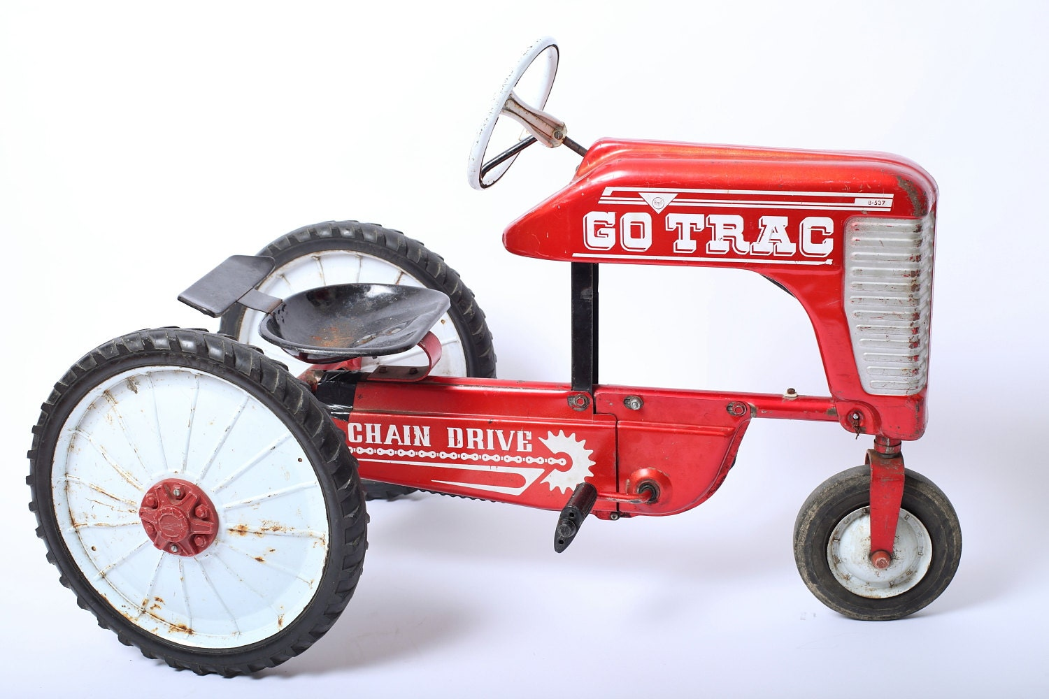 1960s Rare AMF Go Trac Red Tractor Children's Chain Drive Toy - ThisIsAGhostTown