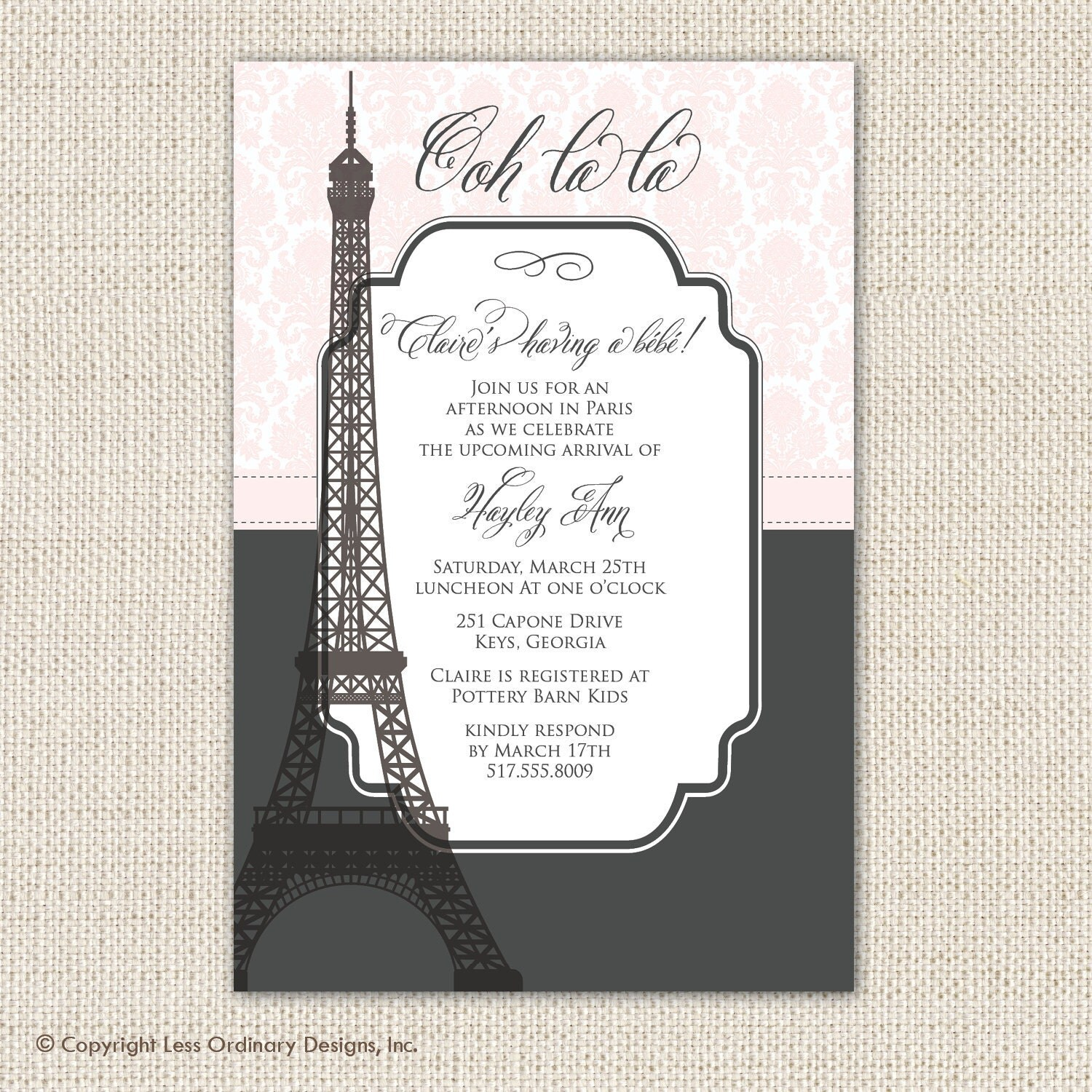 Paris Themed Bridal Shower Invitations