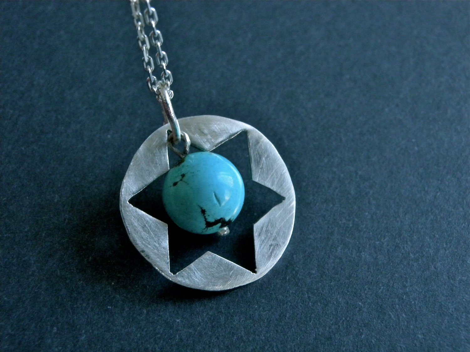 Star of David Silver Necklace with Turquoise by NingSterling