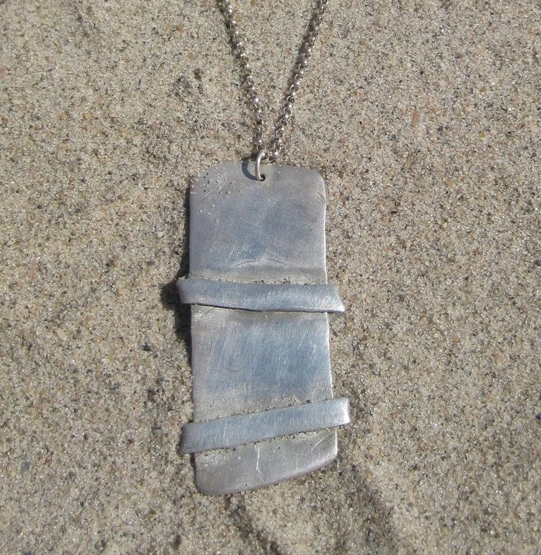 Double Banded Abstract Charm Silver Necklace
