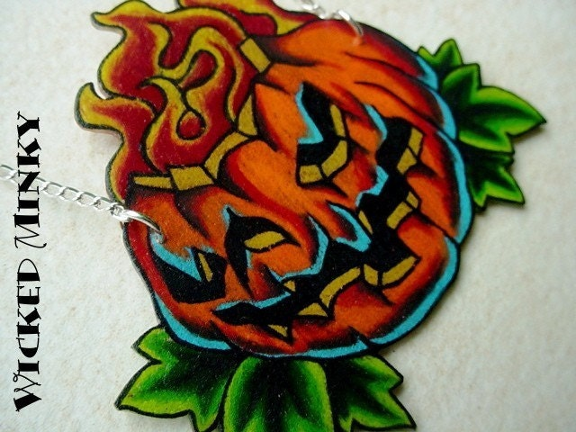 limited edition halloween new skool tattoo jackolantern necklace