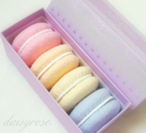 French Macaron play felt food or decoration set of 4