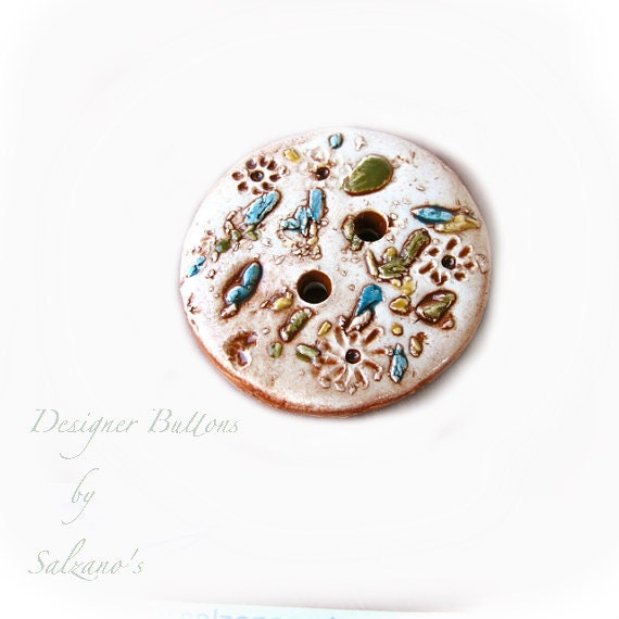 Handmade Ceramic button beige Original hand sculpted design - Salzanos