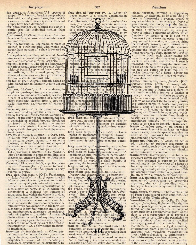 Vintage Dictionary Bird Cage Print - Bird Cage plus FREE 5x7 monogram