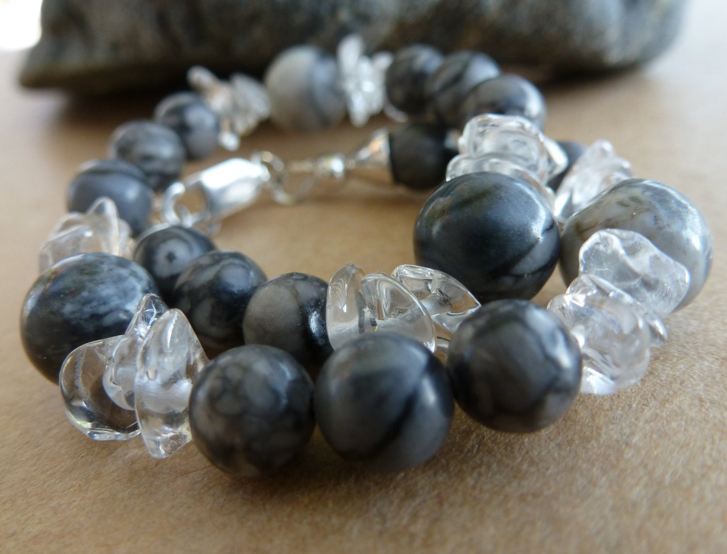 bracelet black jasper, quartz and silver / matrix of magic SALE WAS 24 USD