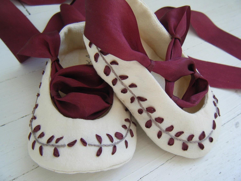 Органические Шелковый Бургундии Джейн Остин балета обуви для вашего ребенка девушка
