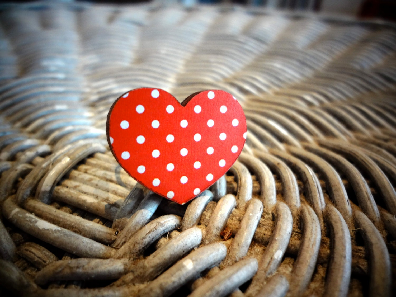 "Wooden Ring ""My Funny Valentine"" in Red Polka Dot"