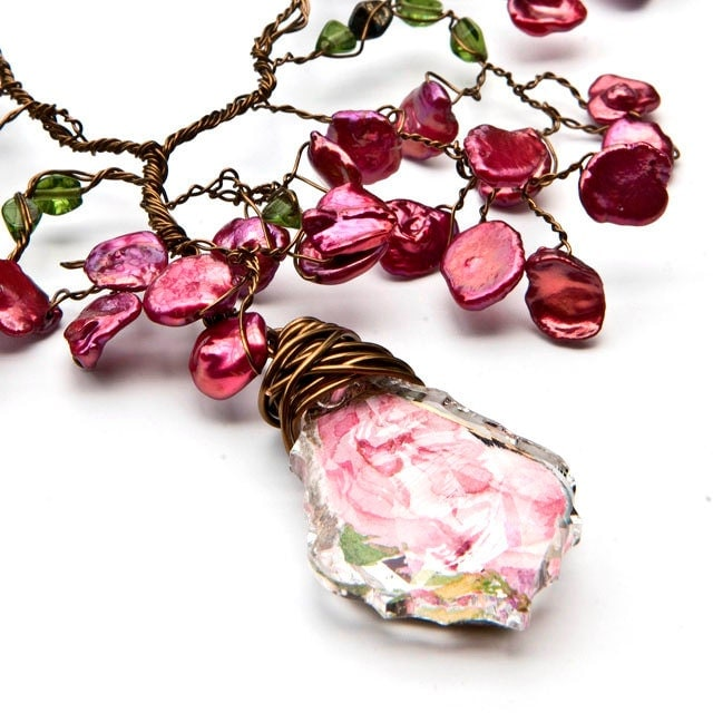 Pink Statement Necklace, Bridal Necklace, Artisan Jewelry, Nature Jewelry - CherylParrottJewelry