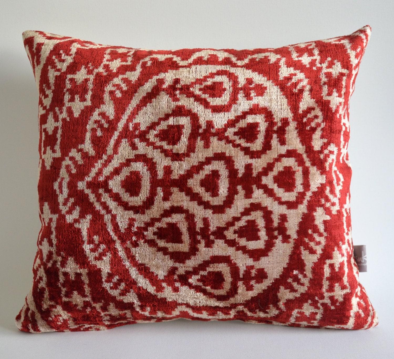 Sukan / SALE, Decorative Pillow,Throw Pillow Cover, ikat Velvet Pillow Cover, Red Ikat Pillow, 16x16 ikat pillow