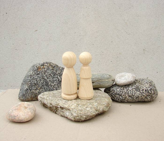 Wooden Doll Pair - man and woman - Peg Dolls - wedding cake - Waldorf Children toys,Wedding, party favors