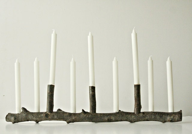 The MANorah - MADE TO ORDER Festive Holiday Decorating, Hanukkah Decor, Twig Candelabra, Rustic Christmas Decor - FrickandFrackScraps