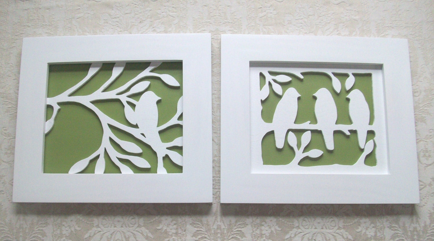 Two Piece Bird Wood Wall Decor Art Silhouette by elwoodworks