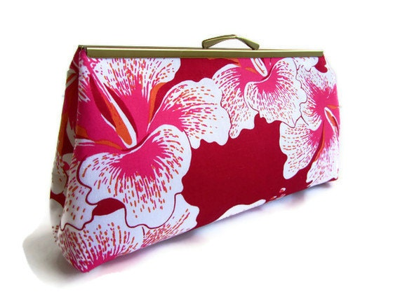 Designer Alfred Shaheen Vintage Handprint - Pua Aloha in Fuschia. Framed Clutch Purse. Evening Bag. Handmade in Hawaii.
