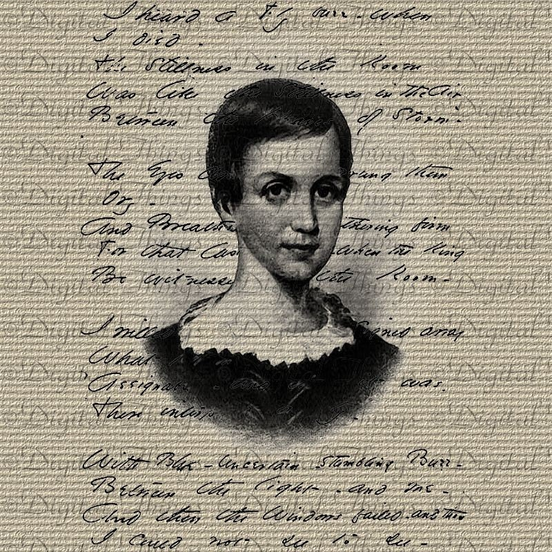 Emily Dickinson Portrait Poetry Script Typography Digital Image Download Iron on Transfer to Totes Pillows DT177
