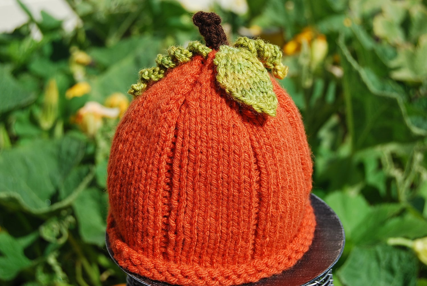 Knitted Rustic Burnt Orange Pumpkin beanie Hat with Knit Curly leaves Newborn Baby or Child Kids Toddler Size - ShoppeBare