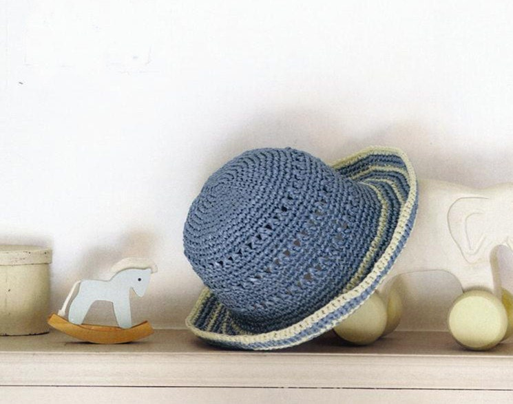 crochet hat women crochet summer straw  sun hat  with flowers in blue and wheaten colors - Magicdoll