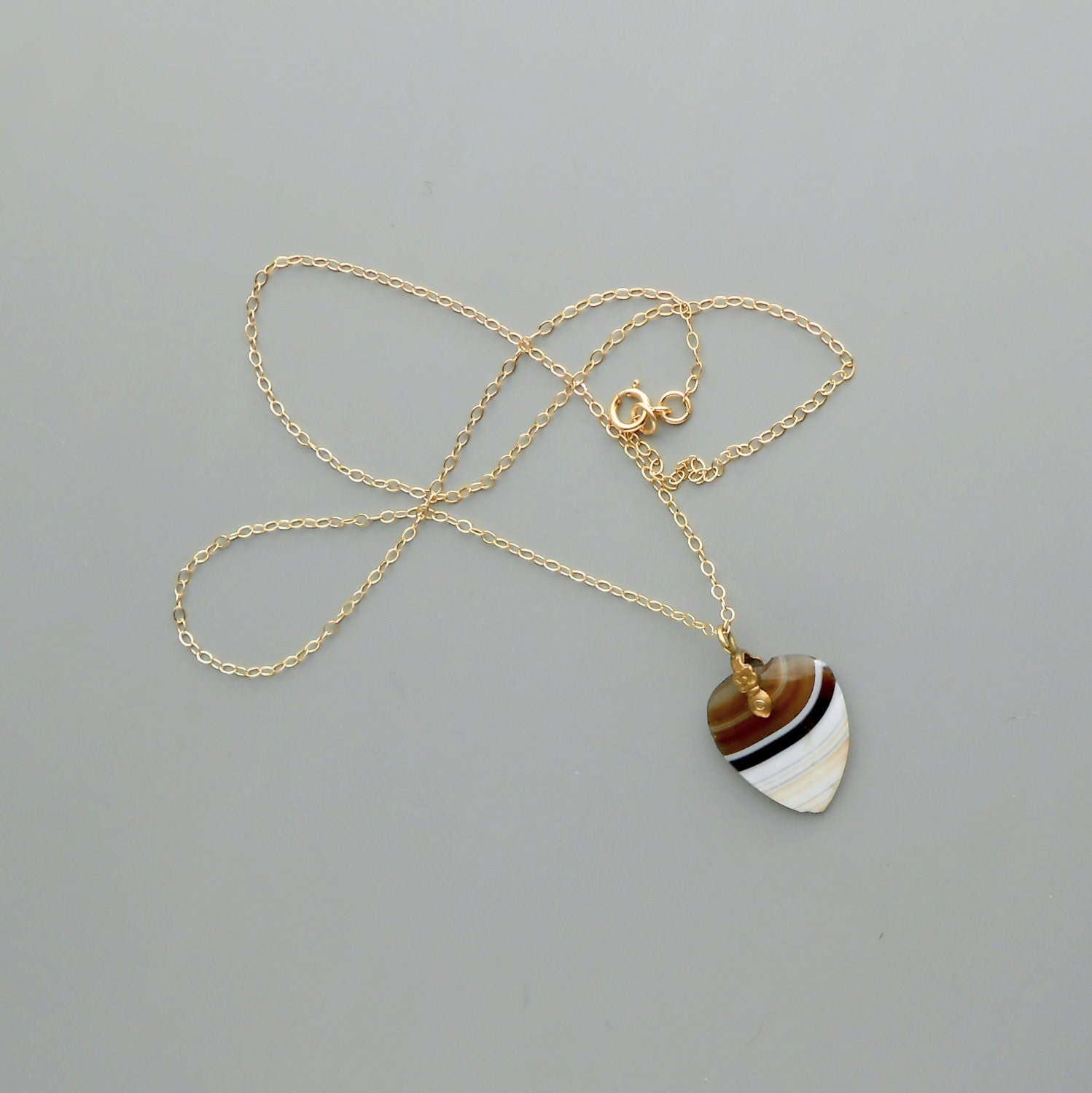 Antique Victorian Agate Heart Charm Necklace