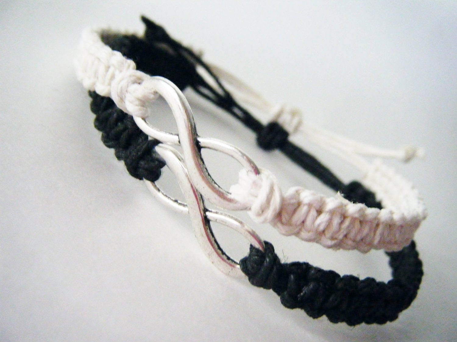 Infinity Friendship Bracelets Black White Adjustable Hemp Set of 2 MADE TO ORDER-1 Week production time