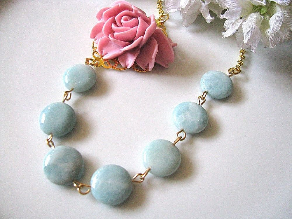 Pink Rose And  Natural Amazonite Necklace - Vintage Inspired Statement Necklace