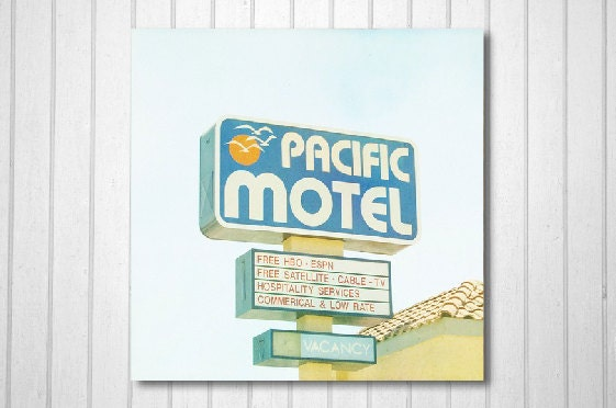 BOGO SALE-California Photo, Los Angeles, fpoe, Travel Photography, Motel, Wall Decor, Soft Colours, Summer -Pacific Motel