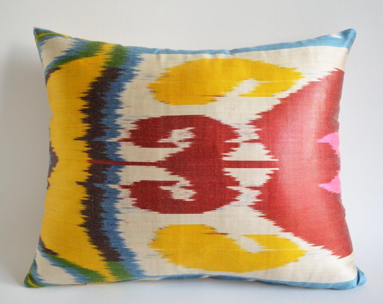 Sukan / Silk Velvet Ikat Pillow Cover Orange - Pillow Covers - Throw Pillow - Decorative pillow cover - Silk Pillow