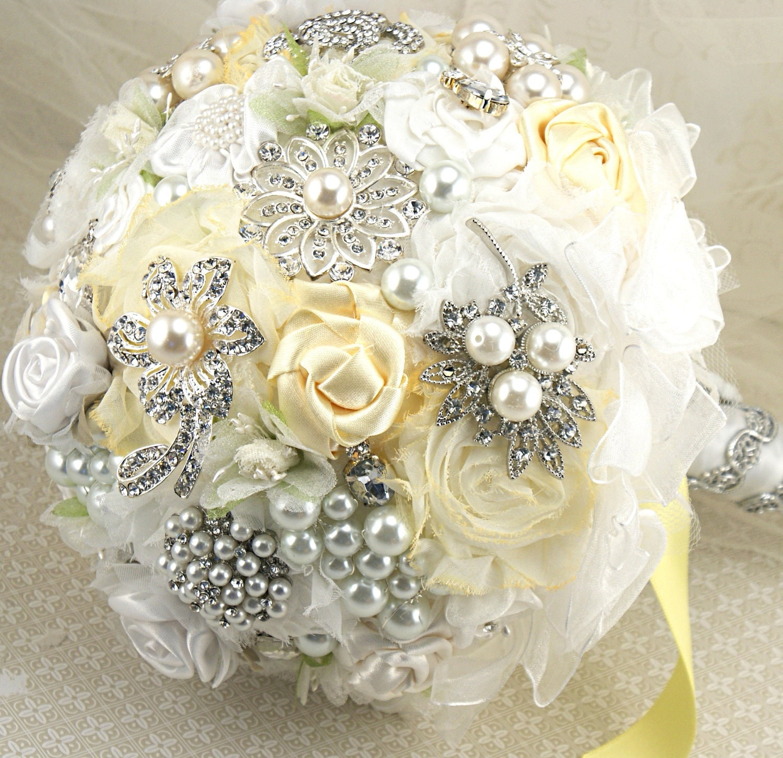 Брошь Букет невесты Jeweled букет Свадебный букет в лимонно-желтый, и белый