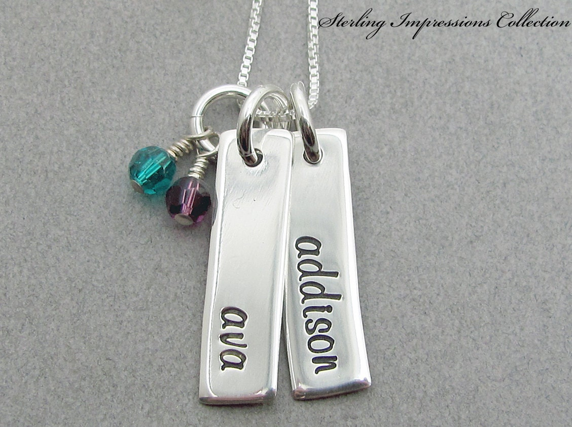Name Necklace - Hand Stamped Jewelry - Sterling Impressions Two Rectangle Birthstone Name Necklace