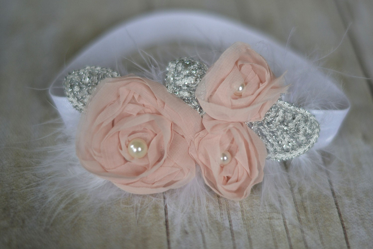 Light pink chiffon headband, baby headband, adult headband, infant headband, child headband