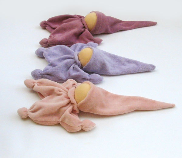 Teething waldorf gnome from cotton purple or lavender waldorf classic toys
