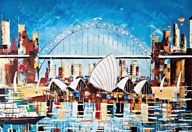 "Sydney Opera House Fineart print - 7 x 10""- Home decor - Wall art -Interior design - ready to hang - australian art - blu - white - gold"