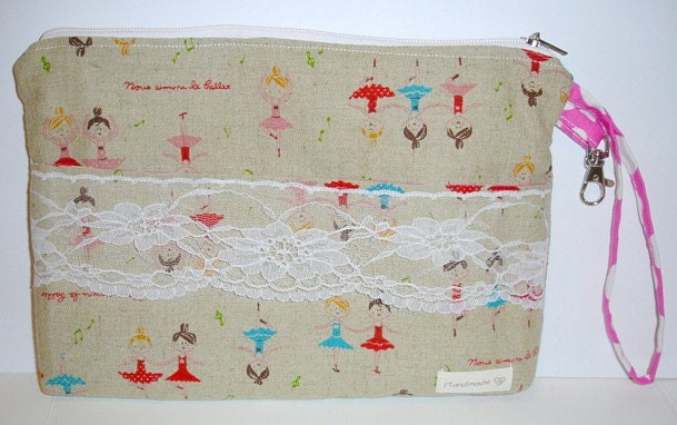 BALLERINAS Diaper&Wipes Purse/Make-up Kit or Carry-All Bag