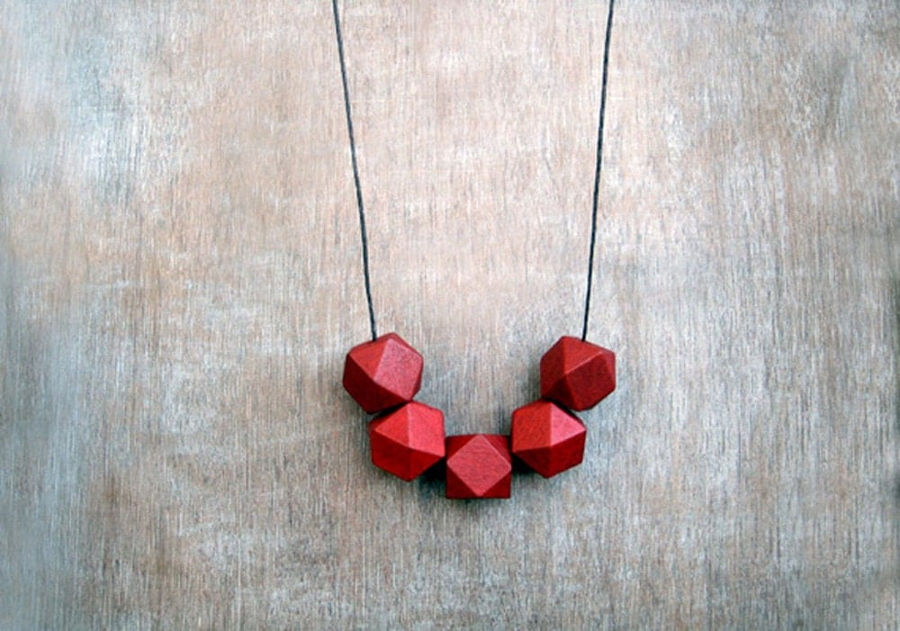 Geometric Necklace /Red Necklace/  / Wooden Necklace/Boho Necklace - JullMade