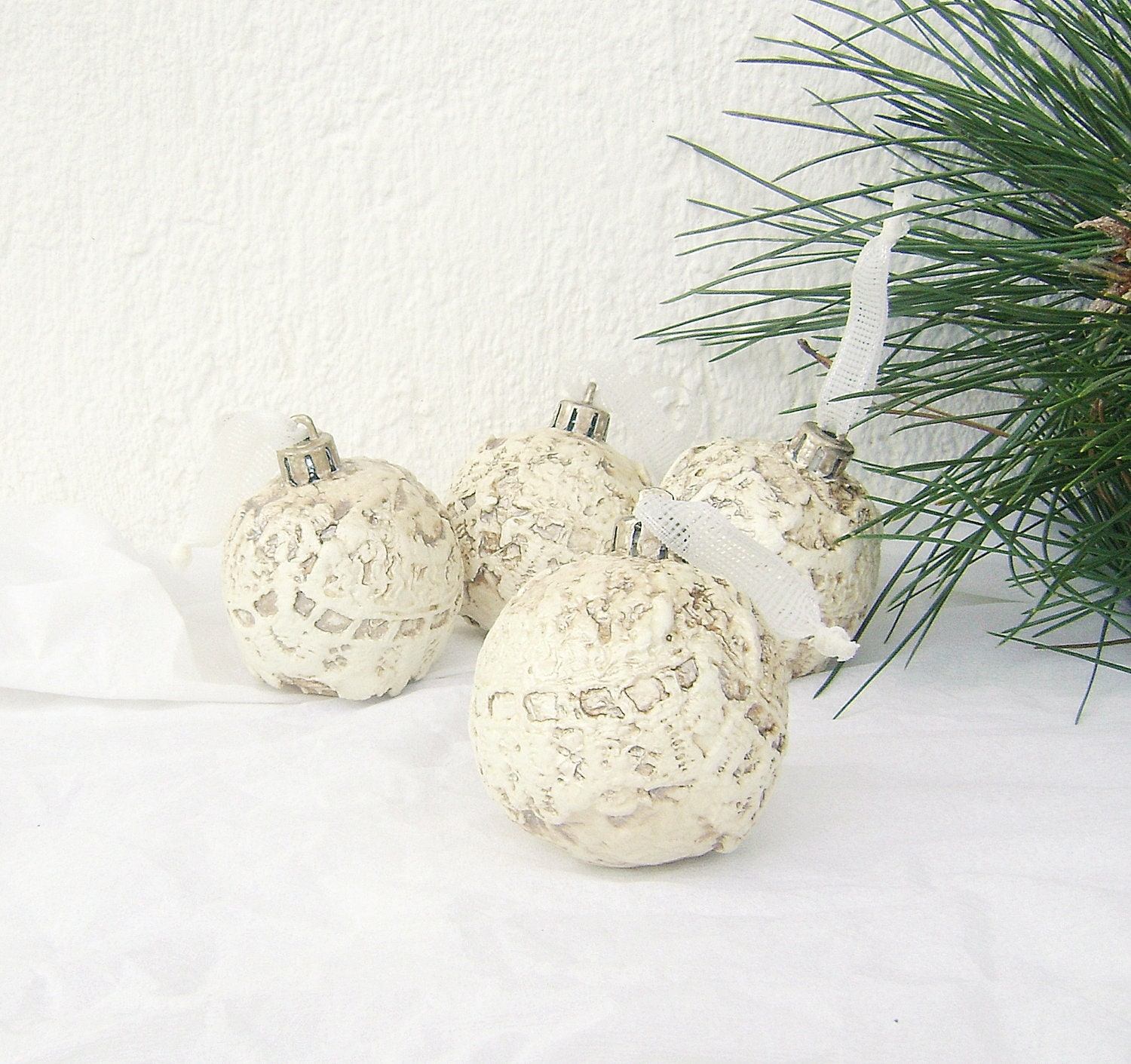 Set of Four Christmas Ornaments Balls  / Christmas  Holiday Plastic Balls  Lace Ornaments / Vintage Style Christmas Home Decor - NataliaDecor